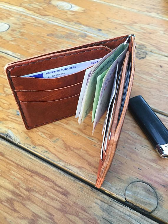 Money Clip Wallet/ Leather Wallet/ Brown/ Men's Leather Wallet/ gifts for dad wallet/ personalized gift/ Leather money clip/ handstitched