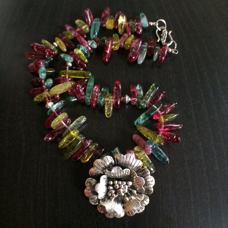 Multicolour  Cracked Crystal Long Chips Semi Gemstone Necklace! by Theshobs on Etsy