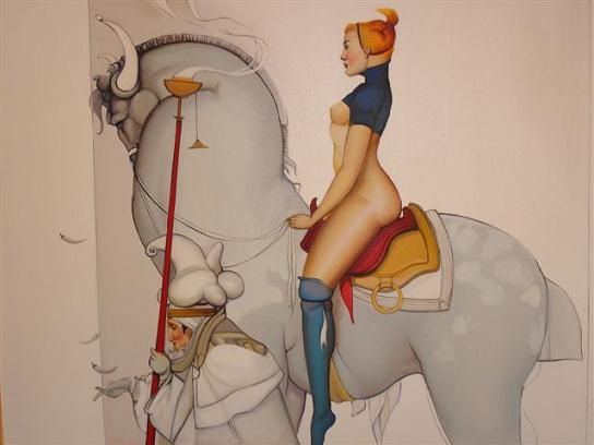 Lady on Horse Oil Painting - Made in Thailand