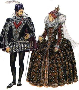 Английский женский и мужской костюм эпохи возрождения