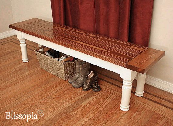 Custom Farmhouse Bench with Spindle Legs Handmade by Blissopia, $300.00