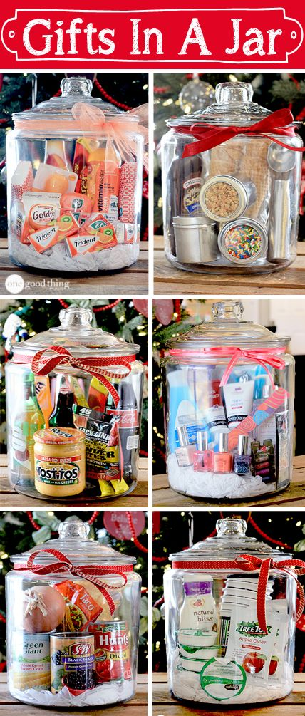 Gifts In A Jar ~ Think outside the gift basket box! A simple, creative, and inexpensive gift idea sure to please many different people on your list!