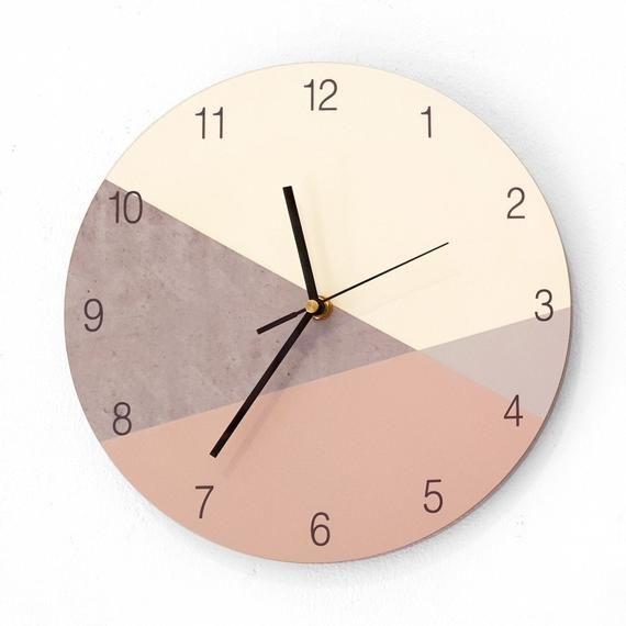 Geometric Wall Clock Minimalist Wall Clock Large Wall Etsy In 2020 Large Wall Clock Modern Minimalist Wall Clocks Wall Clock Modern