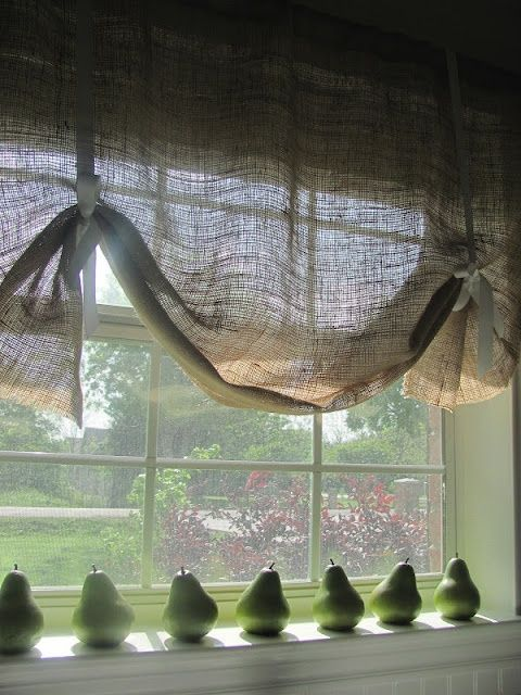 Burlap curtains- for kitchen windows...I think I can make these!!!