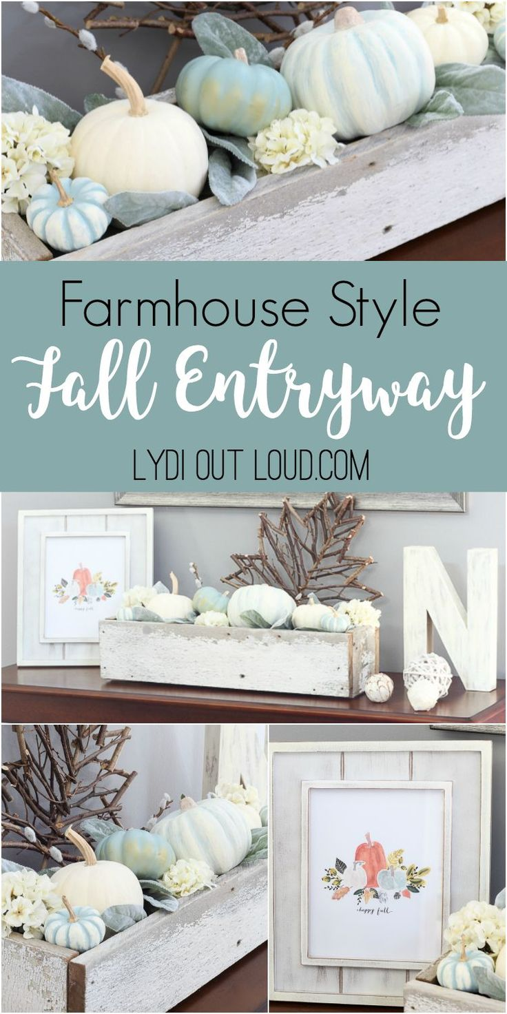 Fall Entryway Decor with DIY Decorative Pumpkins via @LydiOutLoud