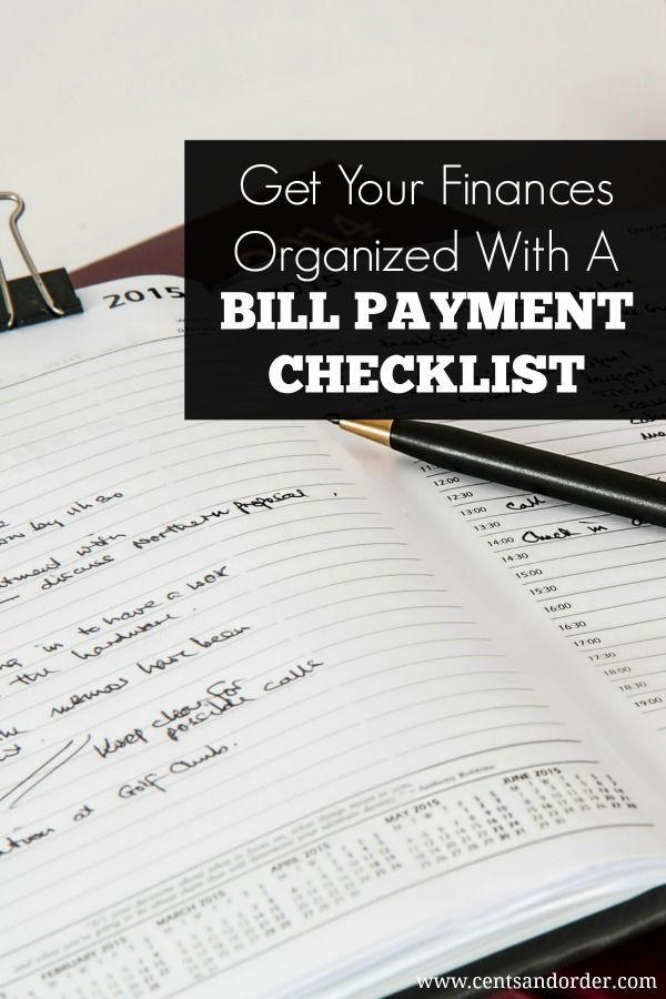 Get your finances organized with a bill payment checklist. This easy tip will help you missed payments and late fees.   Cents and Order