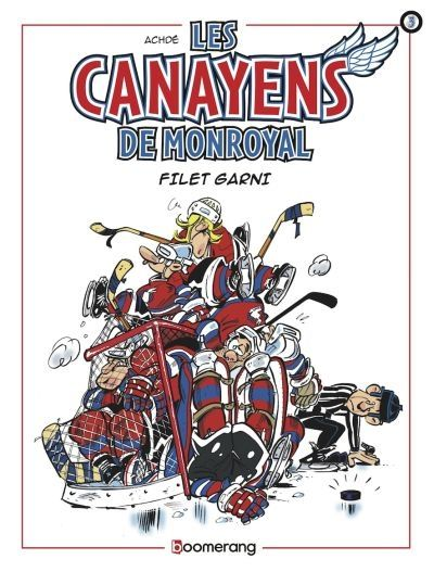 31997000944934    Filet garni #03 (Bande dessinée)   Et voici déjà la troisième saison des « Canayens de Monroyal » qui débute. Rien ne change dans l'esprit de nos fous de la rondelle dont la devise pourrait être : « Tout passe, tout lasse, sauf la glace ! »
