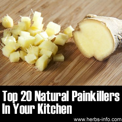 Top 20 Natural Painkillers In Your Kitchen.....Some of the ingredients you'll find in your kitchen have more powerful pain relieving properties than painkillers - and they're all natural, too! Click the link and discover 20 natural painkillers that you can use to ease muscle pain, joint pain, headaches, toothache, earache, heartburn, tummy pain, chronic pain and migraines..