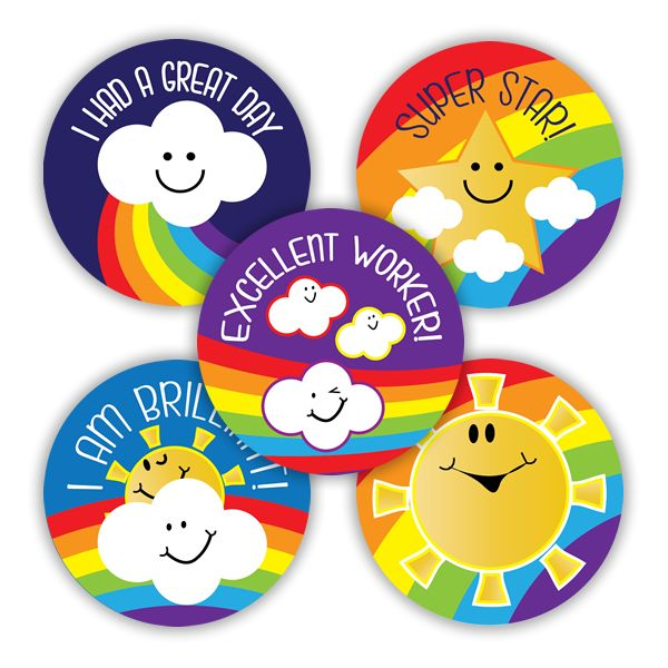 Rainbow Weather Praise Variety stickers to reward your pupils. 125 stickers per pack.
