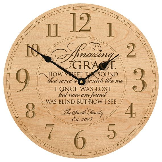 amazing grace personalized wall clock gift for parents. Black Bedroom Furniture Sets. Home Design Ideas