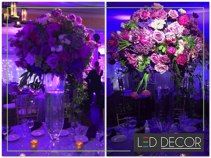 To pinspot or not to pinspot......Look at the amazing difference Pinspots makes to your floral decor setup.