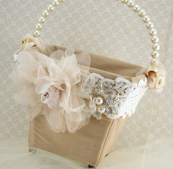 Flower Girl Basket Bridal Basket in Ivory, Blush Pink, Nude and Champagne with Dupioni Silk and Crystal Brooch Vintage Touch. $105.00, via Etsy.