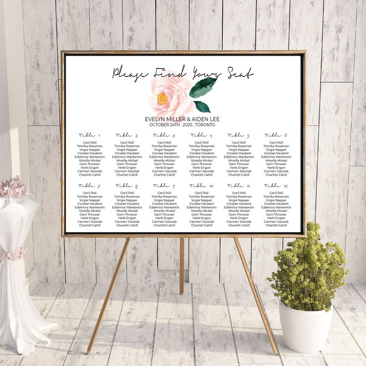 Printable Wedding Seating Chart - Watercolor Floral Wedding Greenery Table Seating Plan - Elegant Wedding Stationery - Calligraphy Wedding by OnionSisterCreative on Etsy