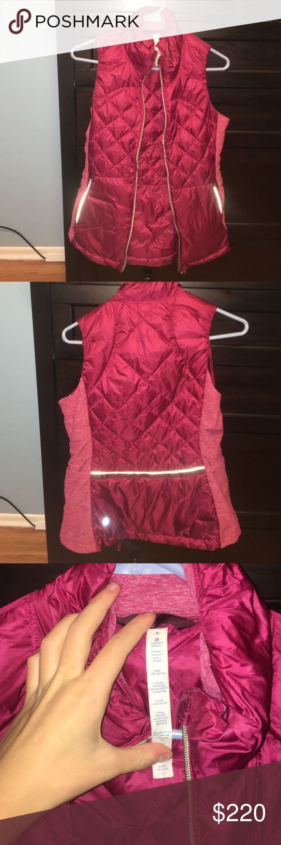 red lululemon vest this vest is sold out in stores. it is a gorgeous dark red with gold accents. it has only been work a handful of times it has absolutely no signs of piling no wear, no imperfections inside or outside whatsoever. it looks new because i honestly just never wore it. hate to part with this beaut but i am saving up.  will sell for less if i can sell on ebay or merc. well taken care of. rare lil thang. i will hold onto if i can't get what i want for it. thanks for reading…