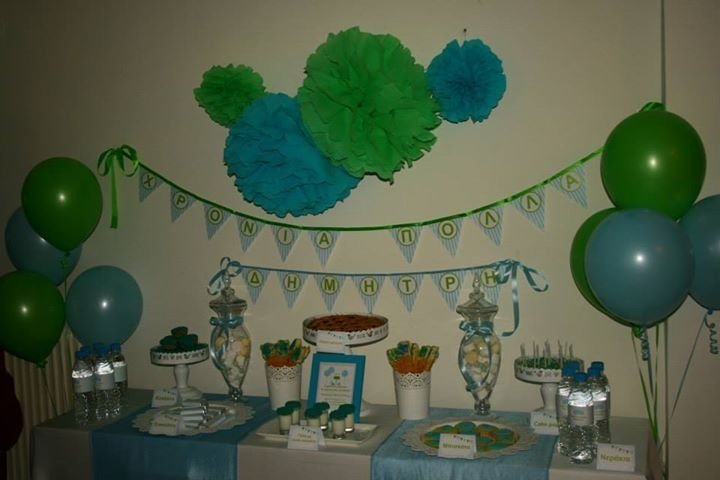 Desert table blue and green 1st birthday party