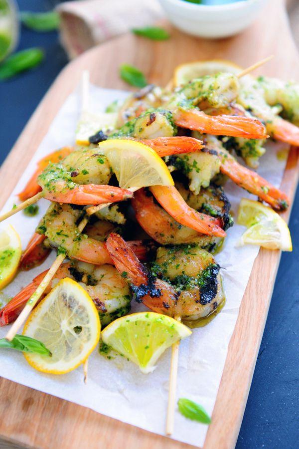 "Perfect for springtime!  ""Grilled Pesto Shrimp Skewers"""