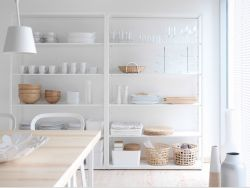 FJÄLKINGE white shelving unit in steel with adjustable shelves