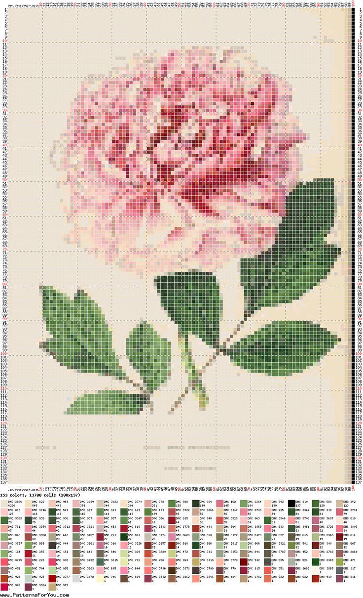 peonia-pivoine-fleur-point de croix-cross stitch-embroidery