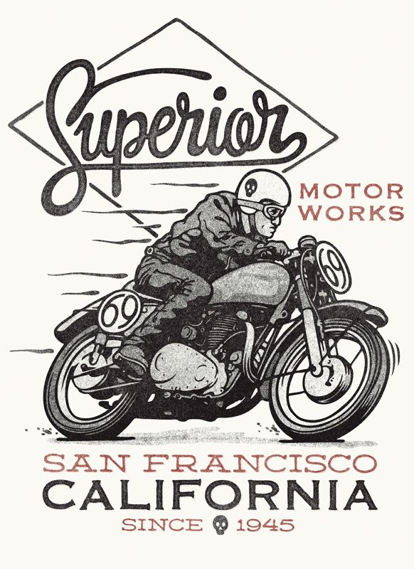 Superior Motorworks by Damian King, via Behance #illustration #motorcycles #motos | caferacerpasion.com