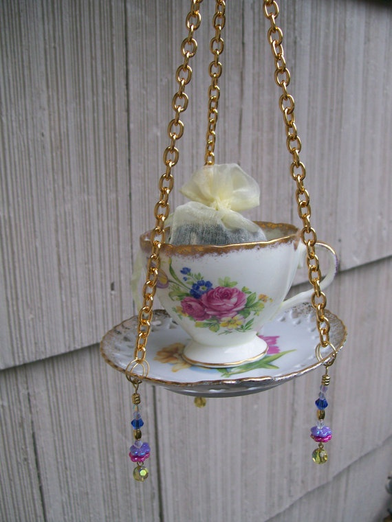 Teacup Hanging Bird Feeder Repurposed by NEWtiques on Etsy, $22.00