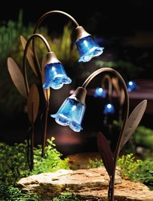 Solar Powered Blue Bell Lawn Stakes - Set of 3  http://www.collectionsetc.com