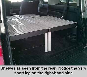 use plastic shelves to make a bed platform (add foam mattress atop, storage below) http://www.hondarv.com/?PlasticBed