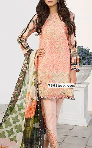 22962b18d9 Peach Lawn Suit | Buy Beechtree Pakistani Dresses and Clothing online in  USA, UK