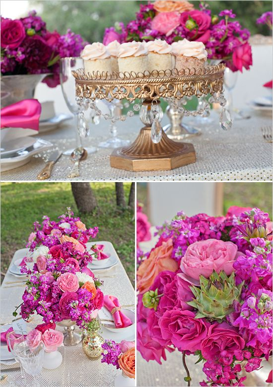 Vibrant pink, gold and white wedding colors