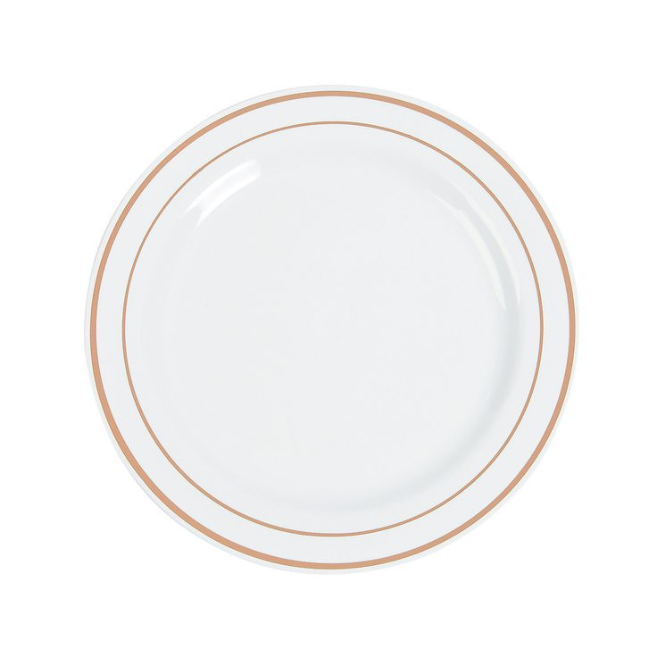 White+Dinner+Plates+with+Rose+Gold+Edging+-+OrientalTrading.com/$19.99-25cnt