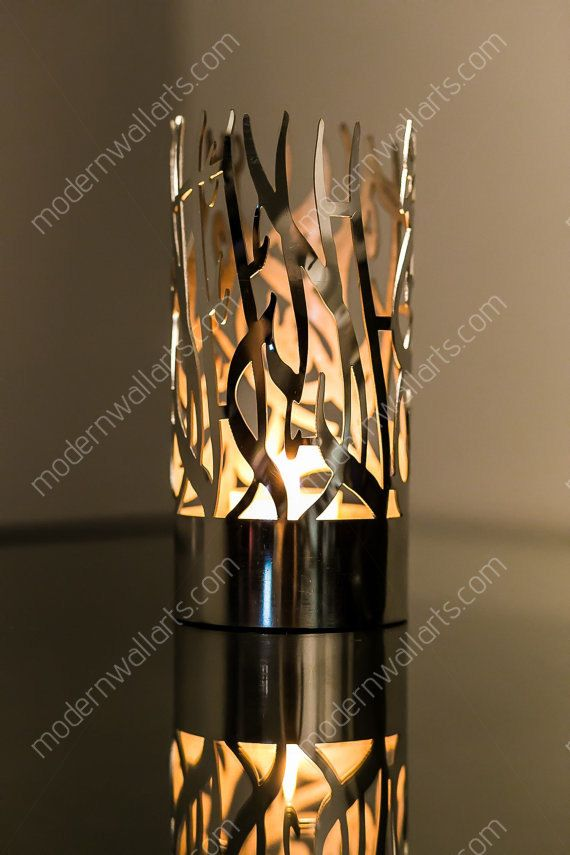 Stainless steel Alhamdulliah and Shahada shadow islamic candle