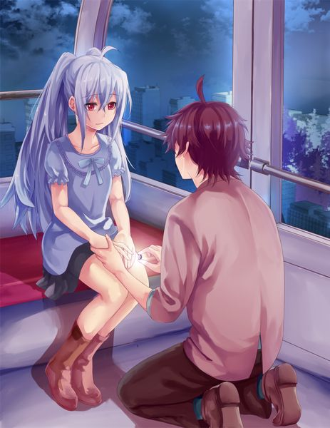 Anime picture 800x1036 with  plastic memories isla (plastic memories) mizugaki tsukasa shimotsuki Shio long hair tall image short hair red eyes brown hair twintails fringe sitting sky cloud (clouds) looking away silver hair ahoge light smile couple collarbone