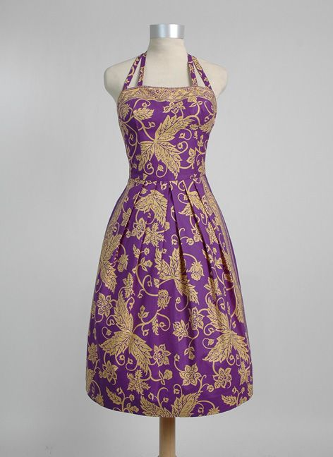 1950's Carolyn Schnurer purple and yellow gold batik print cotton halter dress with removable neck straps.