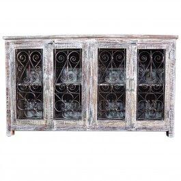 Metal Jali 4 Door White Sideboard