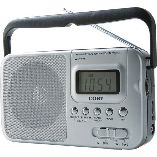 World Band AM/FM/Shortwave Radio With Digital Display by Coby. $14.39. Receives SW 1 and SW 2 world bands, Digital LCD display, High-performance telescopic antenna, Integrated 3 dynamic speaker, Clock and alarm functions, 3.5mm headphone jack, 2-way power with AC/DC operation, Dimensions: 8 3/16 W x 4 11/16 H x 2 5/16 D, Requires 2 D batteries (not included)
