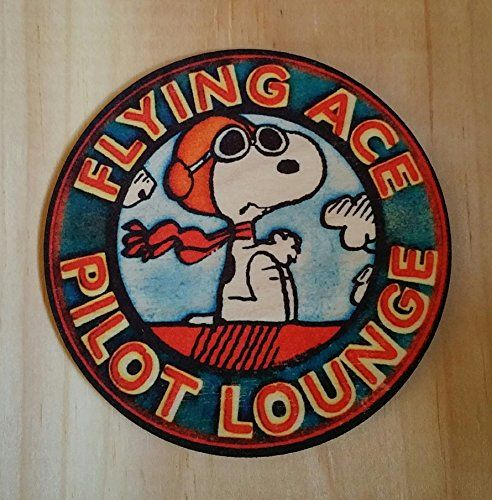 Set Of 4 Real Wood Aspen Coasters! Snoopy Flying Ace Pilot Lounge Distressed Image Vintage Looking Aviator Aviation Gift Lounge Bar Man Cave Decor Charlie Brown Peanuts Movie