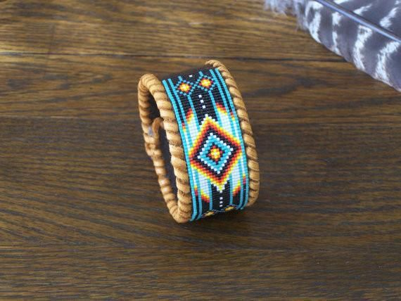 Native American Beaded Chevron Leather Bracelet Bracelets And Beads