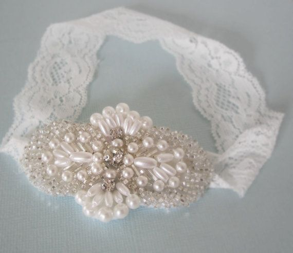 Newborn Baby Toddler Girl White Pearls and Lace Baptism Christening - Bridal Headpiece - Newborn Headband and Photo Prop