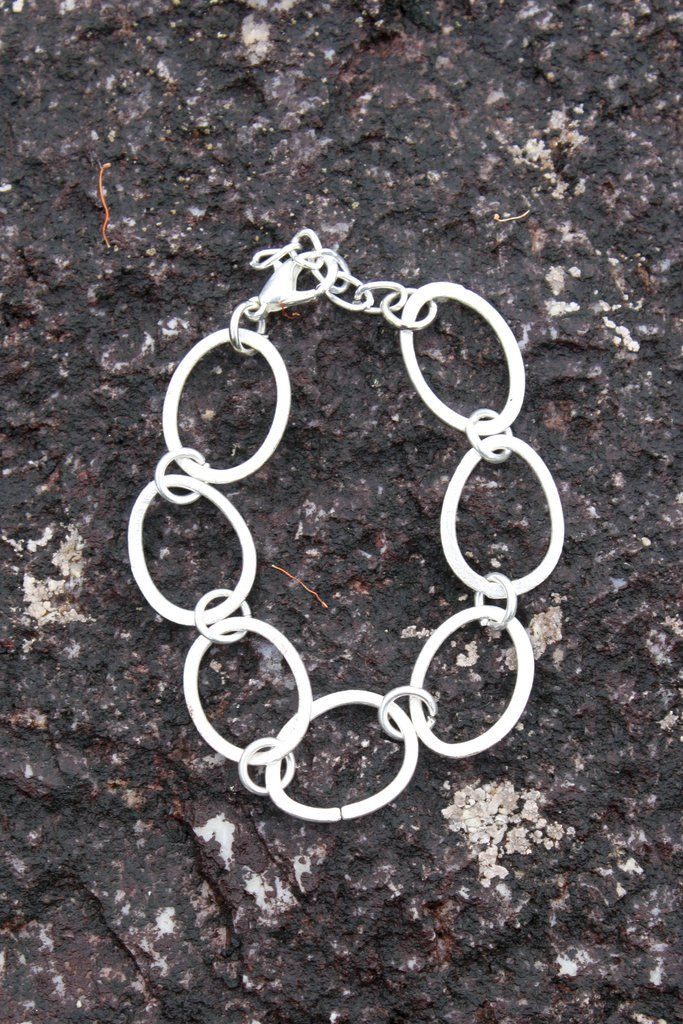 Sterling silver coated mixed shapes bracelet