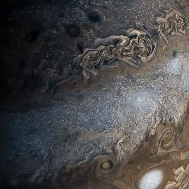A video of Jupiter taken from NASA's Juno spacecraft, (compiled images). Those swirls are clouds and storms happening on the planet, some of the bigger ones are bigger than earth 🌎. Jupiter itself is so big that you can fit 1,300 Earths inside it! Also, we probably wouldn't be here without Jupiter, during the formation of our solar system and earth,