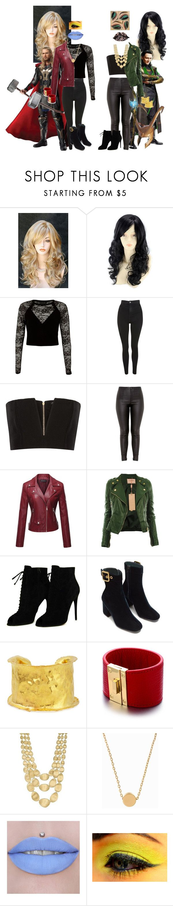"""""""Thor and Loki"""" by batgirl-at-the-walking-dead3 ❤ liked on Polyvore featuring WithChic, Marvel, River Island, Topshop, Balmain, Tom Ford, Jean Mahie, Alberto Moore, Marco Bicego and Minnie Grace"""