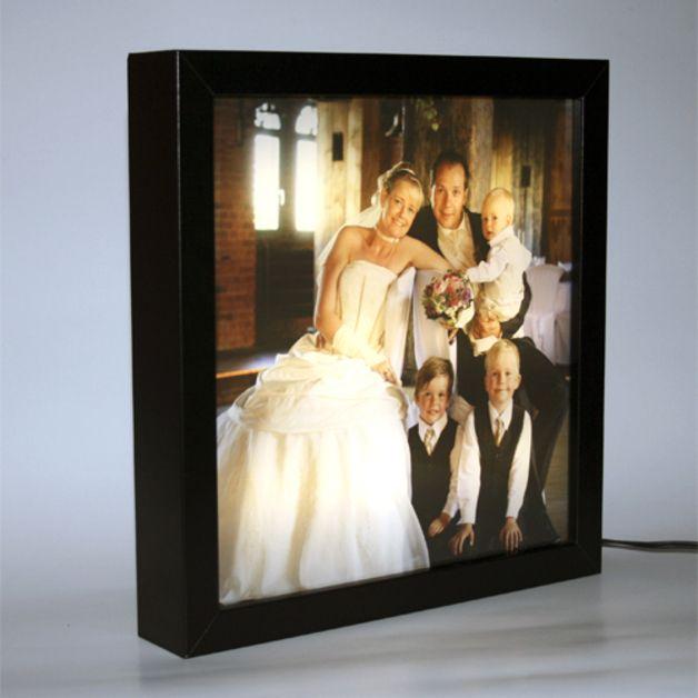 Bilderrahmen - LED-Fotorahmen 25x25cm mit individuellem Foto - ein Designerstück von FotolampenShop bei DaWanda