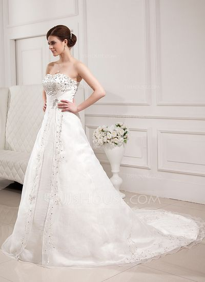 Corte A/Princesa Escote corazón La capilla de tren Organdí Satén Vestido de novia con Bordado Bordado (002000305)