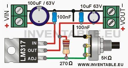 Este es el diagrama de una fuente de salida variable con el regulador LM317