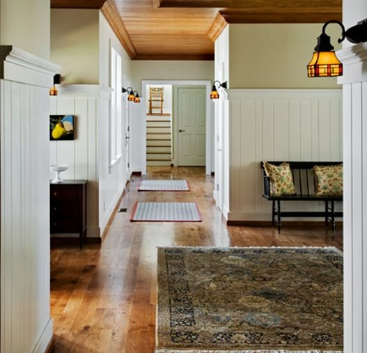 Wood Trim Paired With White Beadboard