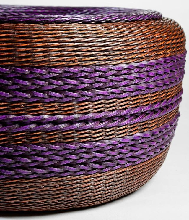 """Peeta Tinay is a basket artist from the Pacific Northwest who uses Jacquard Basic Dyes in all her work. Basic Dyes are extremely easy to use and yield exceptionally bright colors on wood, reeds, cane, rattan, and other """"difficult"""" substrates. Check out more of Peeta's stunning work on the #JacquardProducts website.  #jacquarddyes #basicdyes #basketry #fiberart #northwest #pacificnorthwest #basketweave #nationalbasketryorganization #peetatinay"""
