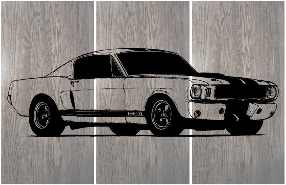 "67 Mustang Fastback / Muscle Car  ""Eleanor"" / Hot Rod /  Gift for him / Her / Man Cave / Screen Print Wood Wall Art  / Painting"