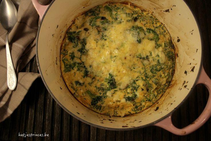 fritatta met broccoli en gerookte kaas