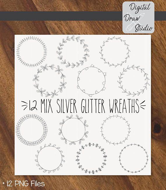 12 Silver Glitter Wreaths Clip Art  Round Hand Drawn Frame