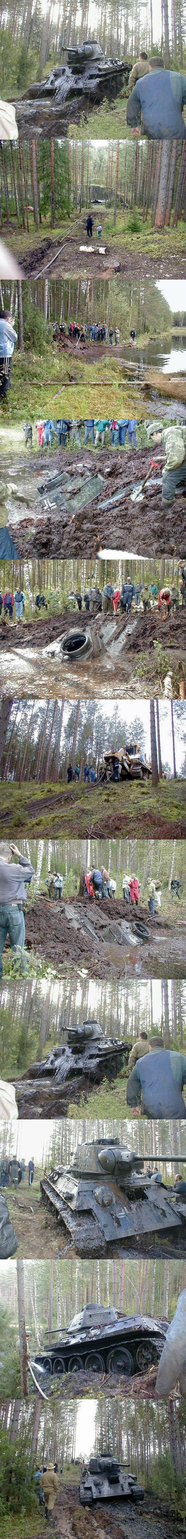 Soviet WW2 Tank With German Markings Found In The Mud After 62 Years. - Imgur
