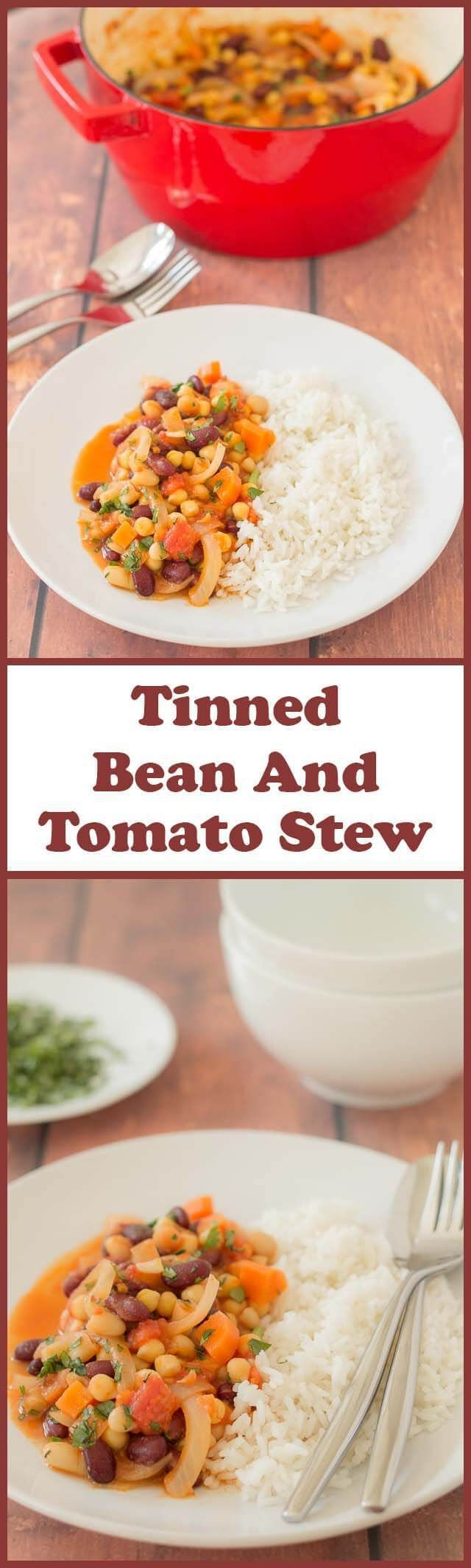This bean and tomato stew recipe is an easy, delicious one pot solution for when you need a quick healthy meal on the table yesterday. Vegan, high in dietary fibre and bursting flavour, it's sure to satisfy hungry tums!